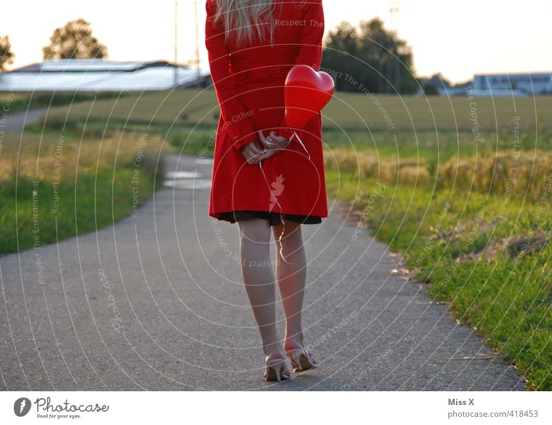 heart balloon Human being Feminine Young woman Youth (Young adults) 1 18 - 30 years Adults Beautiful weather Field Dress Coat Blonde Red Emotions Moody