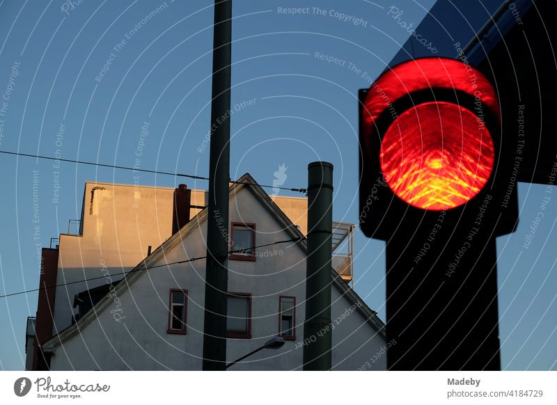 Red traffic light at blue hour with blue sky and evening sun at the Hanauer Landstraße in the Ostend of Frankfurt am Main in Hesse, Germany Traffic light