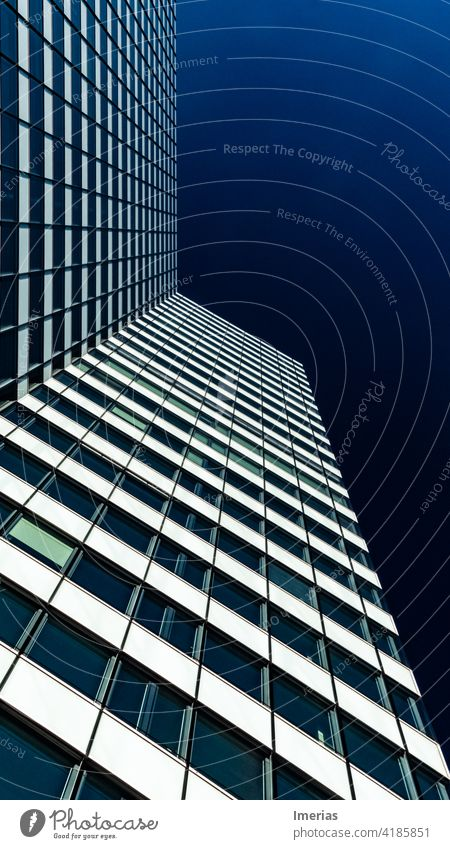 High-rise building with blue sky in Hamburg Blue sky Sky bluesky skycraper Architecture Facade Building Exterior shot Town Manmade structures Beautiful weather