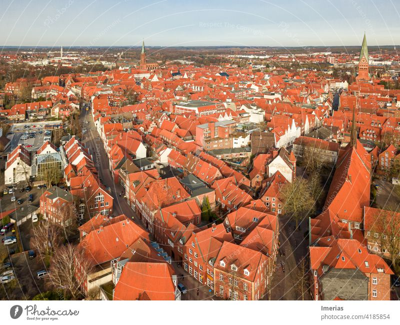 Lüneburg city centre from above Luneburg downtown drone Exterior shot Old town Deserted Copy Space top Architecture Facade Building UAV view from on high