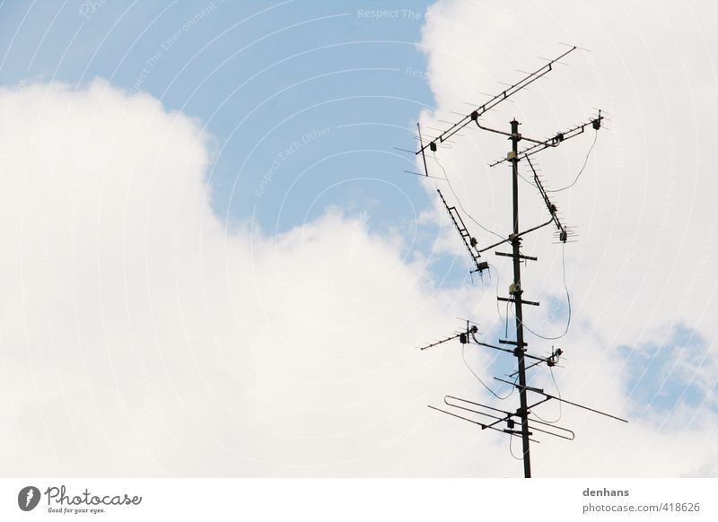 Sky Blue Old Loneliness Clouds Gray Above Roof Technology Antenna Receive Ready to receive