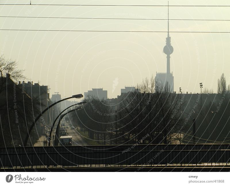 Berlin Greifswalder Str Fog Commuter trains Dusk Things Berlin TV Tower