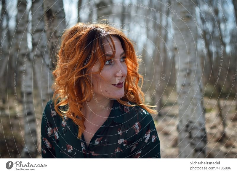 Side profile page portrait side profile Woman Young woman pretty Feminine Colour photo Exterior shot red hair Curl Hair and hairstyles Human being Day