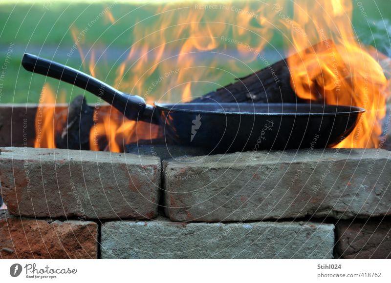 single-flame stove Pan Stove & Oven Fireplace Blaze Flame Burn Adventure Camping Barbecue (apparatus) Brick Orange Moody Joie de vivre (Vitality) Romance