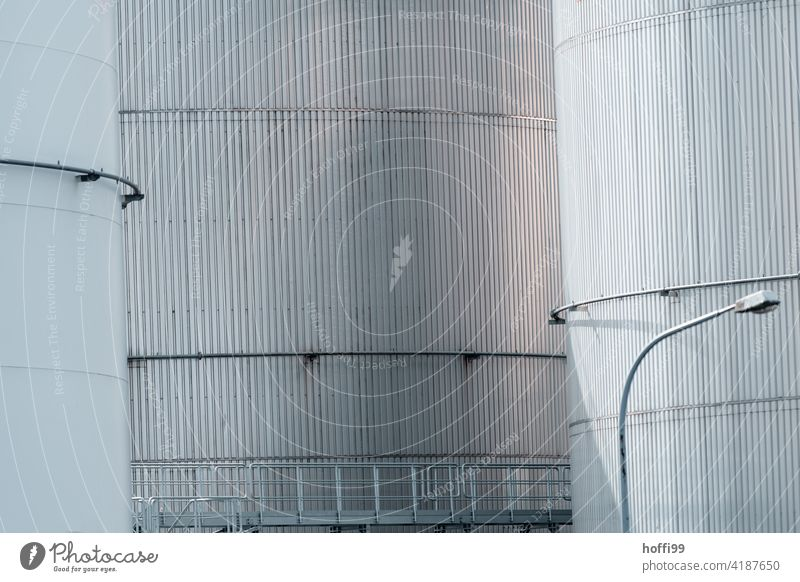 dockside fuel depot port facility Energy industry Harbour Storage Gasometer Fuel Tank Industrial plant Oil tank Gas tank Banister Facade steel wall Stair tower