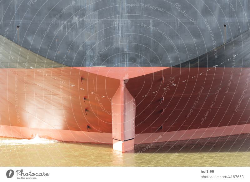 Detail of a stern from a very large ship tankers Container ship Navigation Watercraft Oil tanker Maritime Harbour Port City Logistics Weser Navigable water