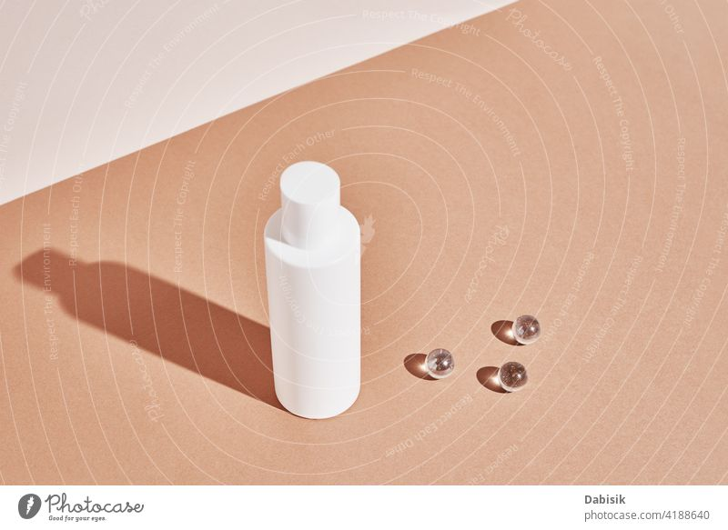 Cosmetics beauty mockup. White bottle on pastel background product cosmetic label clean lotion container package cream design white medical object shadow blank