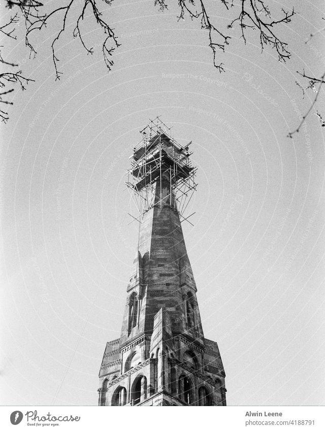 Construction on a Glasgow church Scotland Church Church spire uk united kingdom Building Architecture Analog film photography Black & white photo