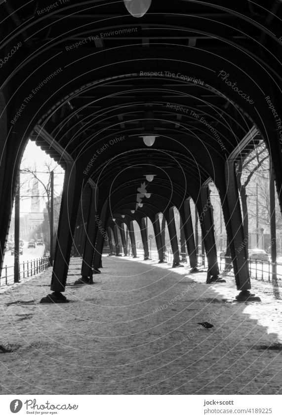 objective l elevated railway in winter with frost and snow Mono rail Steel carrier Schönhauser Allee Prenzlauer Berg Berlin Architecture Structures and shapes