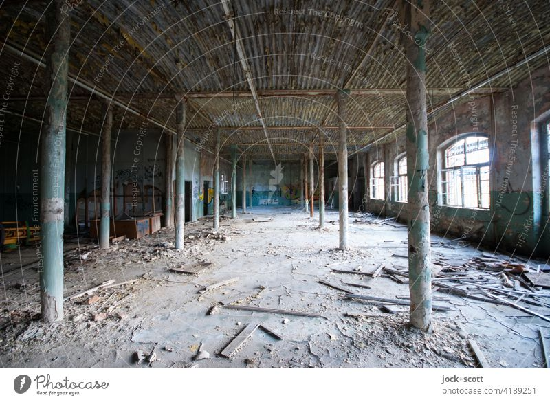 lost in the dusty room lost places Decline Transience Change Old Ravages of time Ruin Destruction Dirty Dust Factory Architecture Apocalyptic sentiment columns