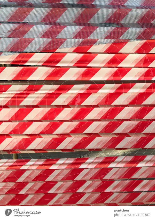 red and white striped barrier tape. Stop, stop, forbidden cordoned off Stripe Hold Reddish white Construction site peril Protection Safety Barrier