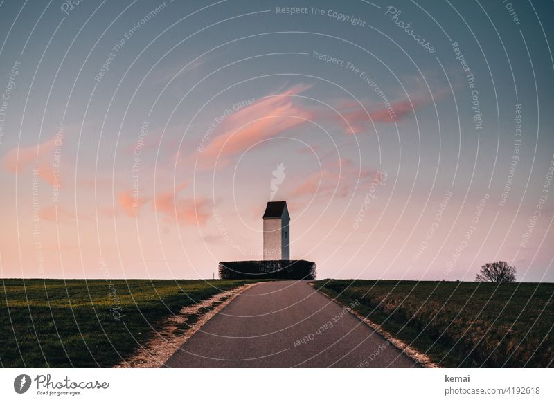 Tower in evening light with pink clouds in the sky Evening evening sky Water tower country Rural Landscape warm Warmth pretty tranquillity Clouds Pink Sky Idyll