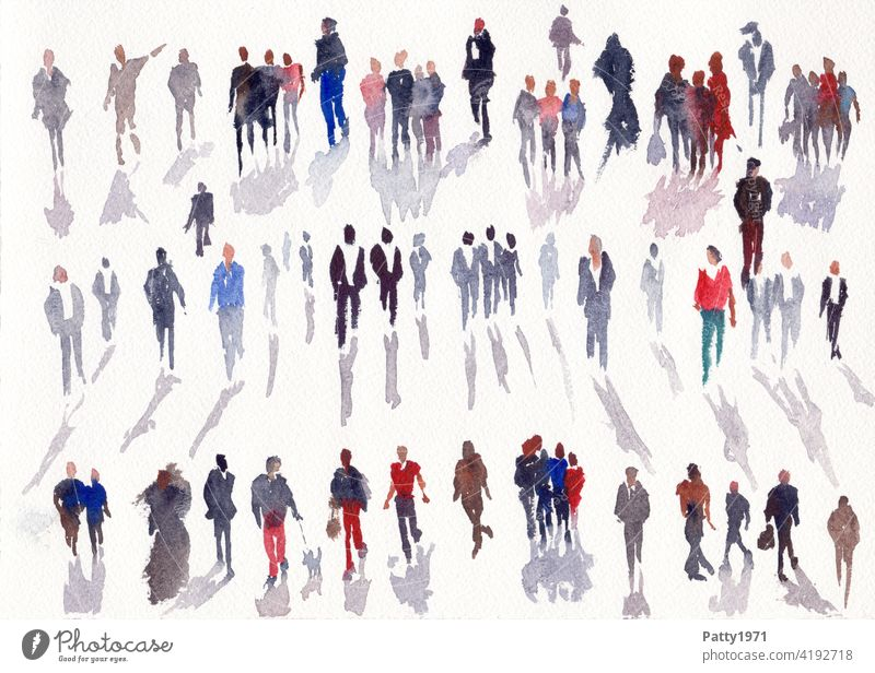Abstract human silhouettes with drop shadows painted in watercolor Watercolors Silhouette People group Many Art Leisure and hobbies Creativity