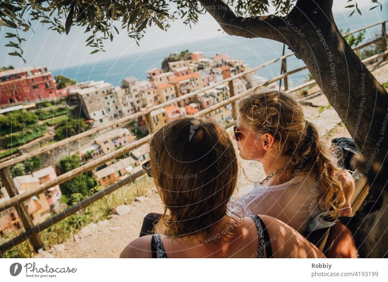 Two young women under the olive tree overlooking Manarola Olive tree Young woman Blonde Sun Sunlight Tree portrait Smiling pretty vacation Summer Summer Feeling