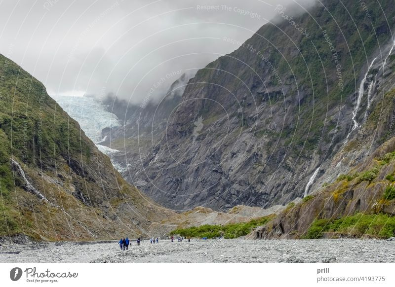 Franz Josef Glacier glacier new zealand south island ice southern alps mountain alpine mountain range waiho river valley slope overgrown nature natural