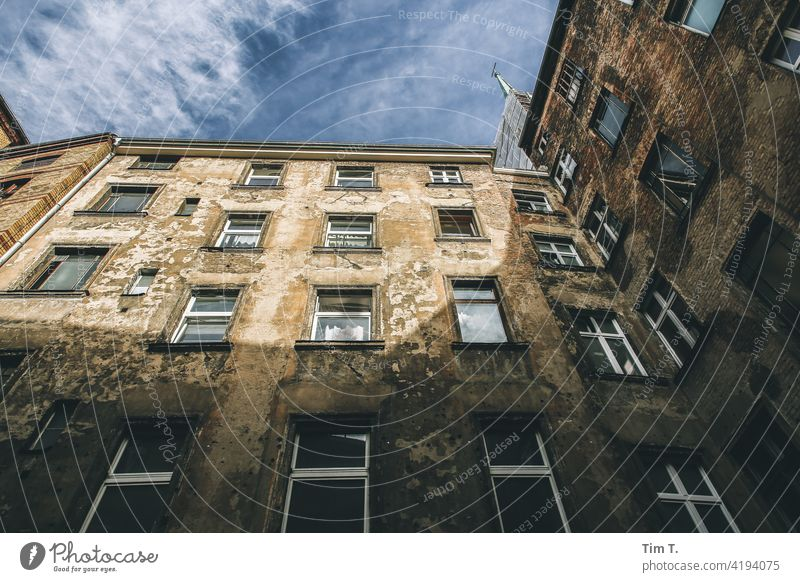 View upwards in a backyard in Prenzlauer Berg Backyard Berlin Colour photo Old building unrefurbished Deserted Day Town Downtown Capital city Old town