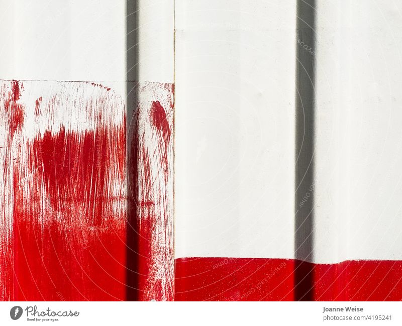 White wall with bright red paint brushstrokes. white wall red and white Red Wall (building) Exterior shot Colour photo Facade Building Day Detail Brush stroke