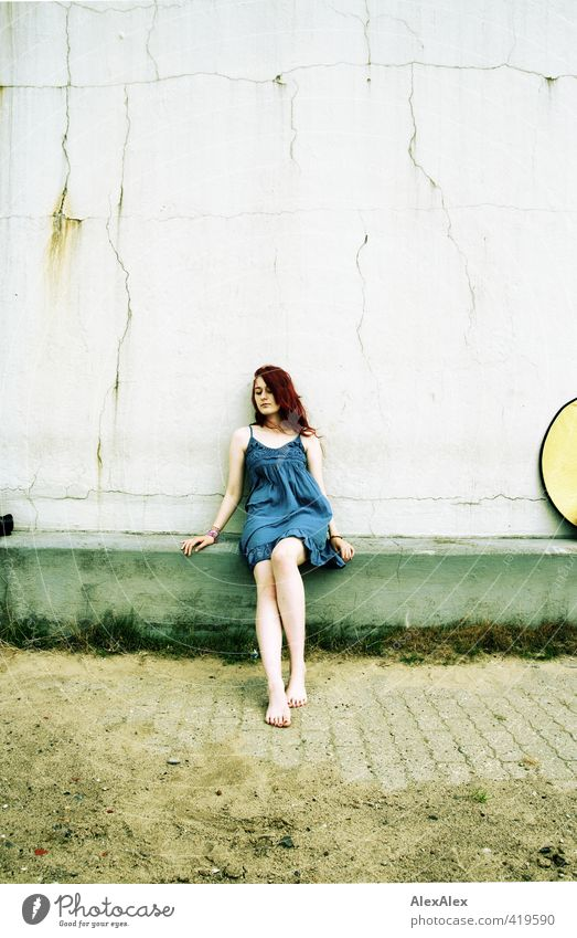 wide-angle piece image Trip Reflector Young woman Youth (Young adults) Legs 18 - 30 years Adults Landscape Sand Grass Dress Barefoot Red-haired Long-haired