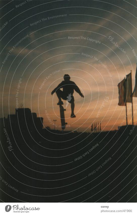 skateboard Night Style Sports Sky Flying Skateboarding