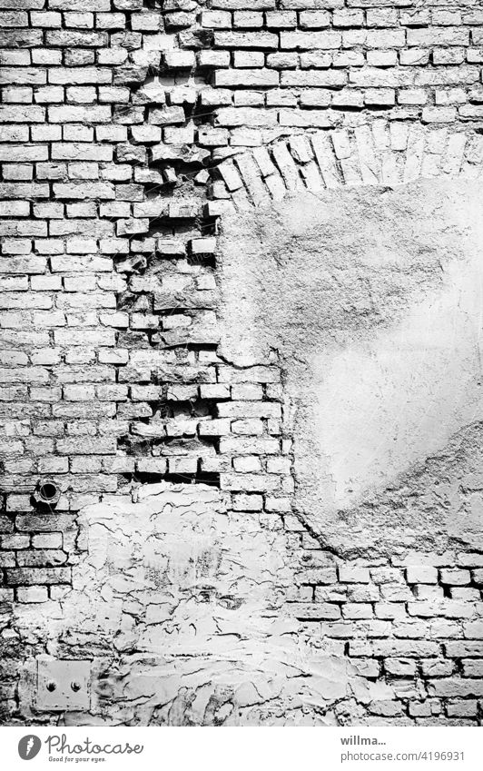 more courage to fill in the gaps Brick construction Wall (barrier) house wall brick Facade Gloomy White Derelict Broken Plaster Decline Wall (building)
