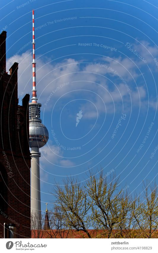 Television tower behind the Märkisches Museum alex Alexanderplatz Architecture Berlin Office city Germany Twilight Worm's-eye view radio and ukw tower