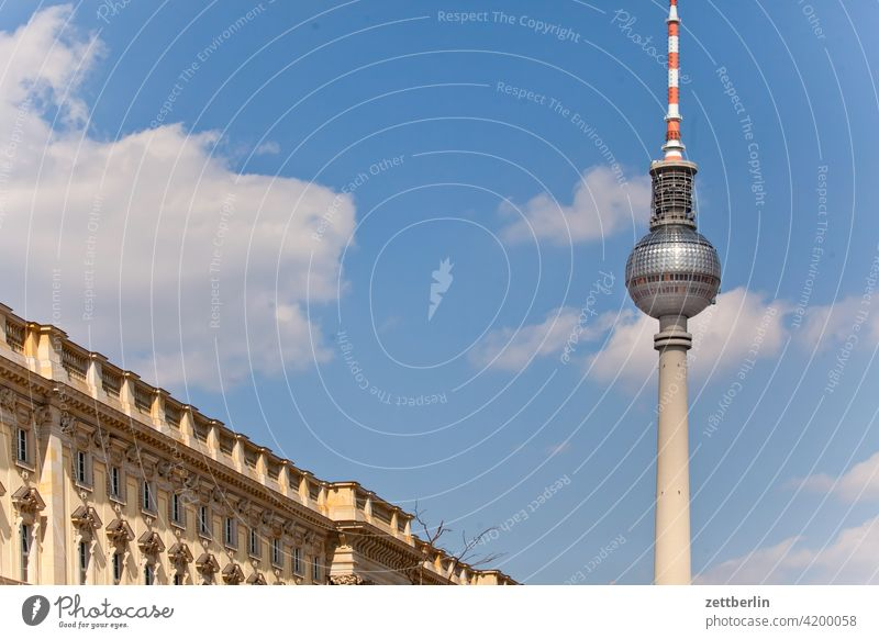 TV tower and some Hohenzollern castle alex Alexanderplatz Architecture Berlin city Germany Television tower Worm's-eye view radio and ukw tower Capital city