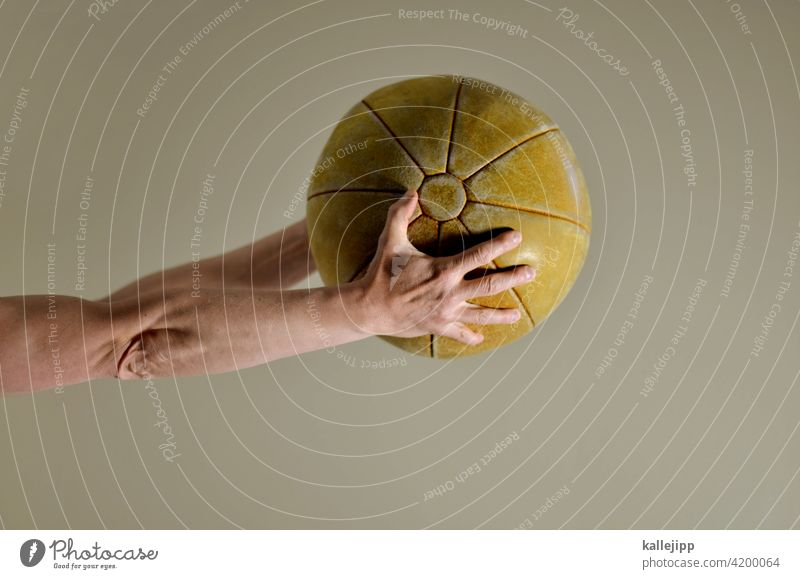conurbation Ball Ball sports medicine ball physiotherapy Healthy Sports Playing Basketball Throw leather ball Leather stop Arm hands Neutral background