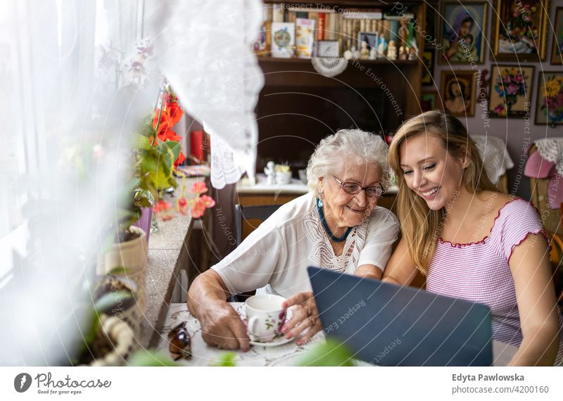 Adult granddaughter teaching her elderly grandmother to use laptop people woman senior mature casual female Caucasian home house old aging domestic life