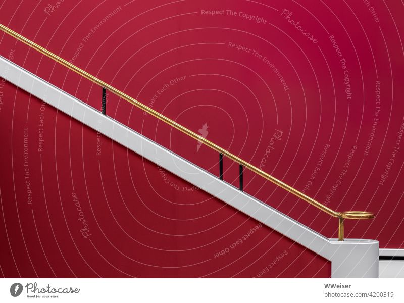Here even the stair railings are noble and worth seeing Stairs Gold Noble Red Classic Hall Exhibition Art Elegant dignified Grasp proportions Wall (building) up