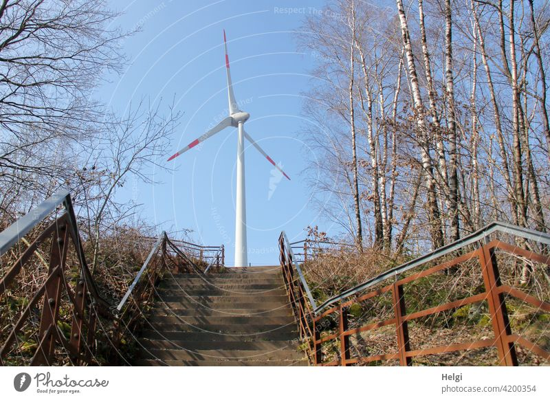 Ascent - stairs on the hiking trail to the viewpoint with windmill at the Piesberg Stairs ascent height Pinwheel Wind energy plant Energy Energy generation