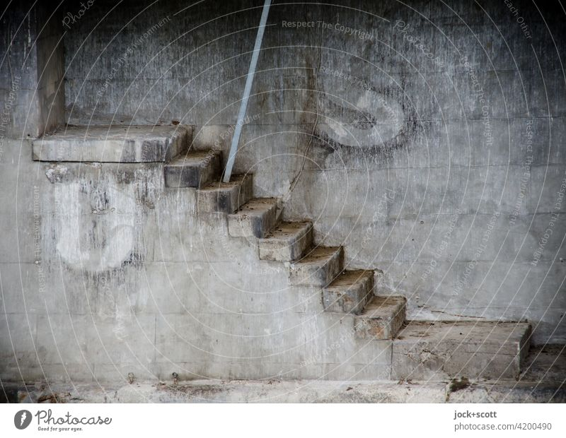 US, stairs to somewhere Architecture Gray Capital letter Street art Foundations Manmade structures iron rod Weathered Stone steps Steps Jetty quay wall