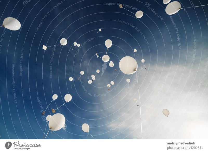 White balloons fly up into the blue sky. The release of festive balloons in the clouds. Celebration and happiness. Air gel balls in the atmosphere. party
