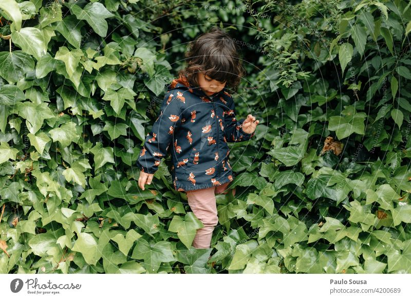 Cute girl playing in the park Foliage plant Child Girl 1 - 3 years Colour photo Infancy Nature Day Plant Environment Happiness Feminine Meadow Summer