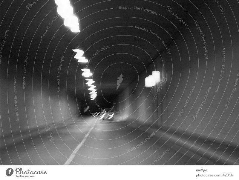 tunnels Tunnel Night shot Motor vehicle Car Black & white photo