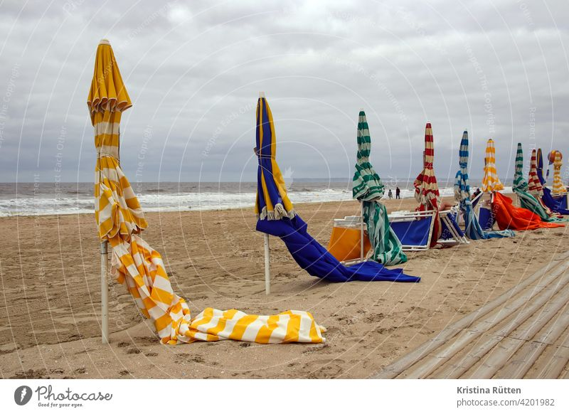 sunshades on the beach of trouville Sunshade parasols Umbrellas Umbrellas & Shades Striped Closed Beach Sandy beach Empty Lonely forsake sb./sth. deckchairs