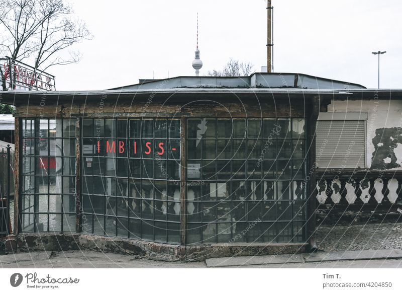 an old snack bar in the Prenzlauer Allee Television tower Berlin Prenzlauer Berg Snack bar Downtown Town Capital city Old town Deserted Exterior shot Day