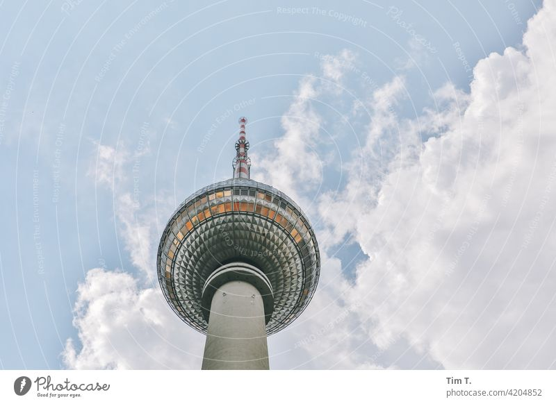 The Berlin TV Tower from below Television tower Middle Upward Downtown Berlin Landmark Tourist Attraction Capital city Architecture Sky Town Alexanderplatz