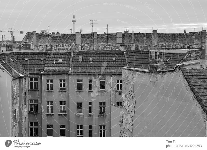 View in a backyard over the roof to the television tower Television tower Prenzlauer Berg Berlin Graffiti Backyard Courtyard Deserted Town Exterior shot