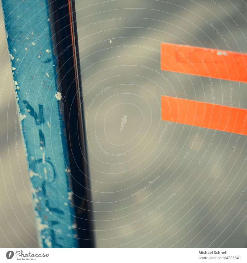 Blue and orange of a bus stop shelter lines Structures and shapes Abstract Orange Pattern writing Stop (public transport)