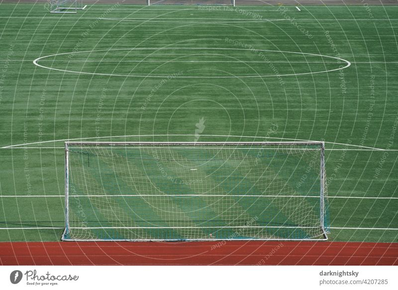 Sports field for football or other sports in a new condition Places Artificial lawn New Goal Foot ball Empty Ball sports Green Football pitch Lawn Playing Line