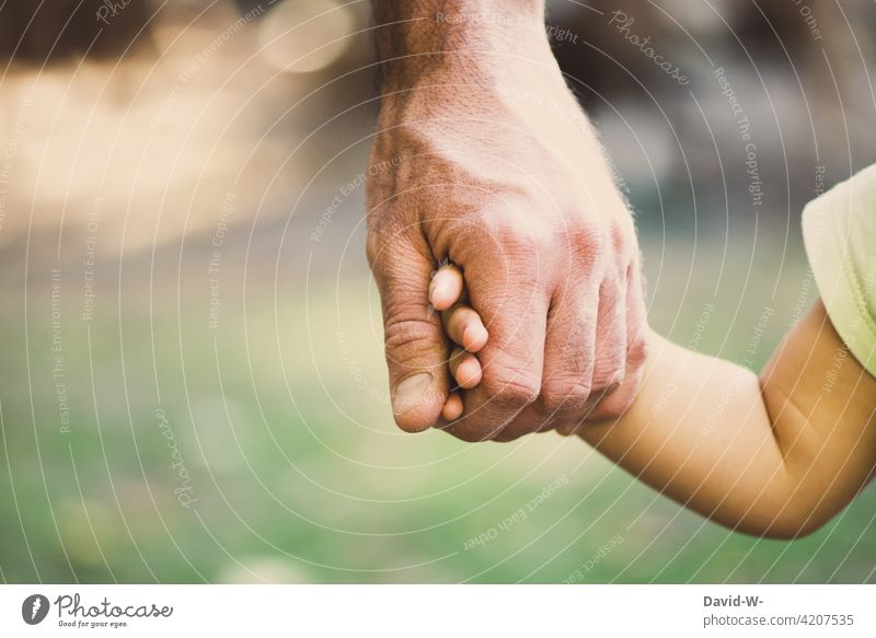 Hand in Hand - Father and Child Trust Love Safety (feeling of) Considerate hands stop Attachment Together dad