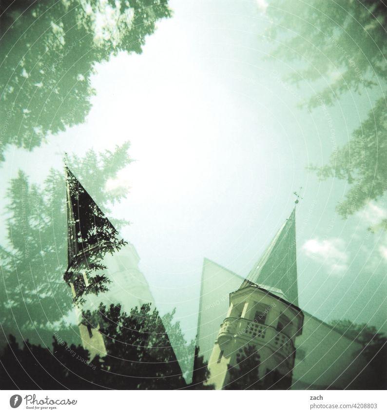 aversion Analog Holga Scan Lomography Slide Double exposure cross Cross processing Church Church spire Tree Sky slanting