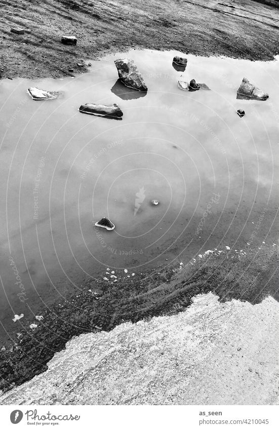 on the water Water Puddle stones pile Black White reflection Driftwood bank Reflection Sky Deserted Wet Exterior shot Gray Black & white photo White Black Day