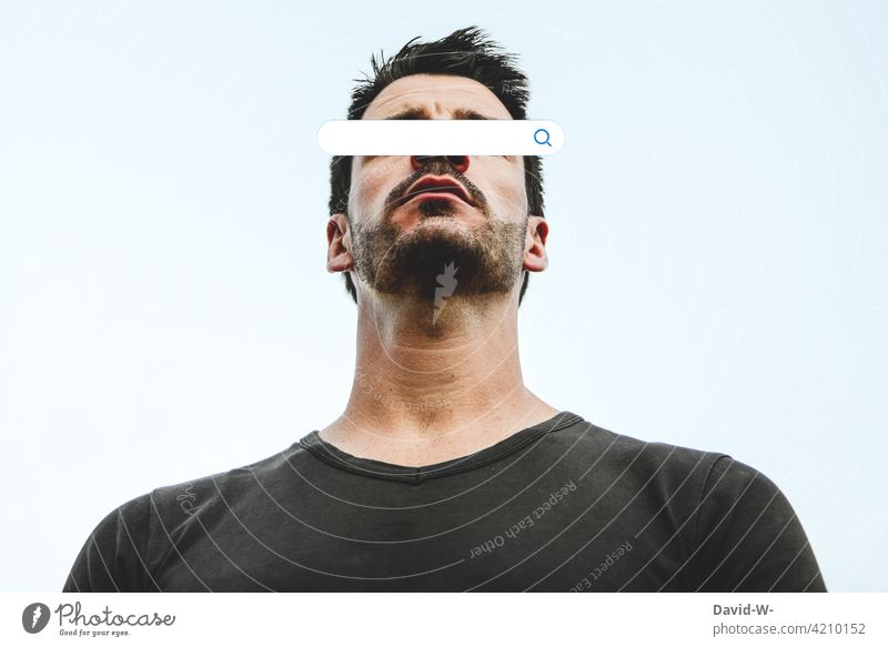 Searching Ask Man Blind Addiction search bar Placeholder eager for knowledge explore Face