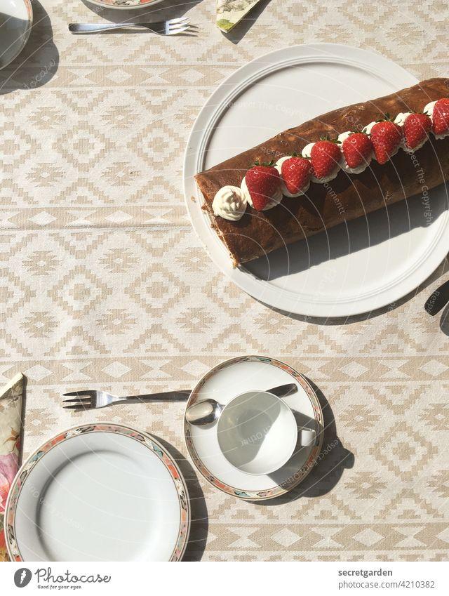 homemade strawberry cream sponge roll at mother-in-law's. Pattern Tea Cake sponge cake Sponge cake Strawberry Cream Plate Porcelain Porcelain plate Cup