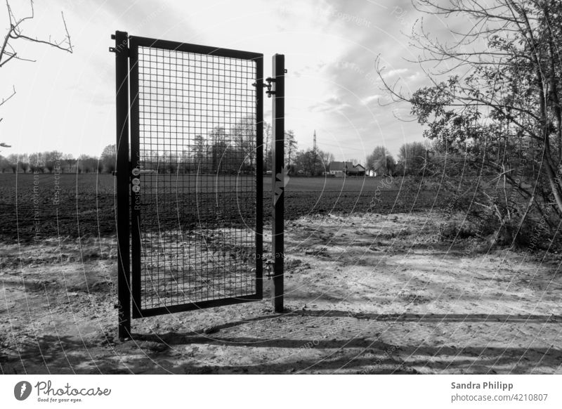 only one locked door, without fence or other demarcation Black & white photo Exterior shot Deserted Day Shadow Contrast Light Sunlight Gloomy Sky Earth