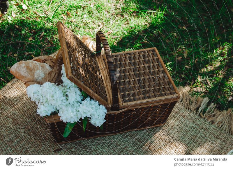 Picnic basket with flowers and breads background bouquet camping closeup copy space countryside food green leisure natural nature nobody outdoors outside park