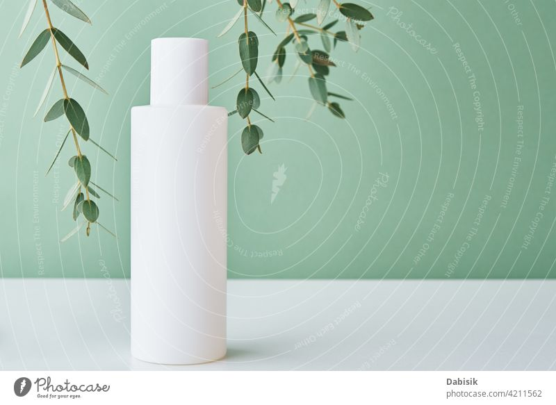 Cosmetics beauty mockup. White bottle on pastel background product label clean lotion container package cream design white medical shadow blank clear empty