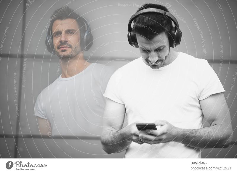 Stream music via your mobile phone Music stream Cellphone Headphones Listening Man Cool To enjoy eavesdrop Joy relaxation Photomontage