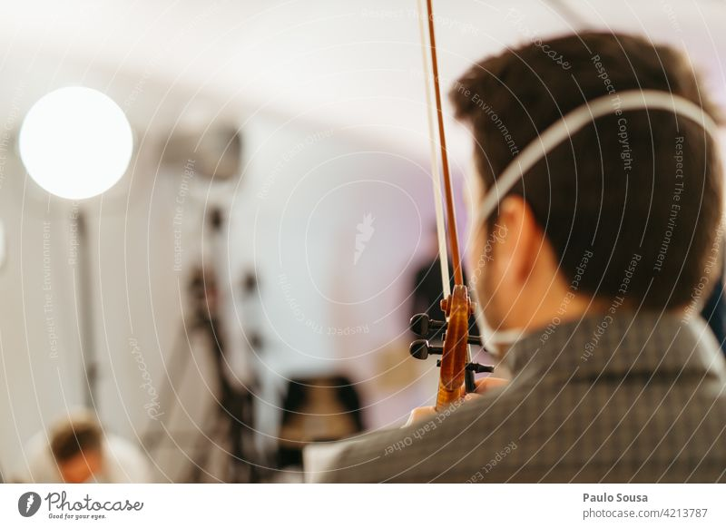 Rear view violinist with face mask Unrecognizable Violin Violinist Music Musician Human being Classic Interior shot Musical instrument Classical Art